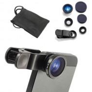 Набор линз для смартфонов (3в1, металл) объективы: рыбий глаз, широкий угол и макро, чехол